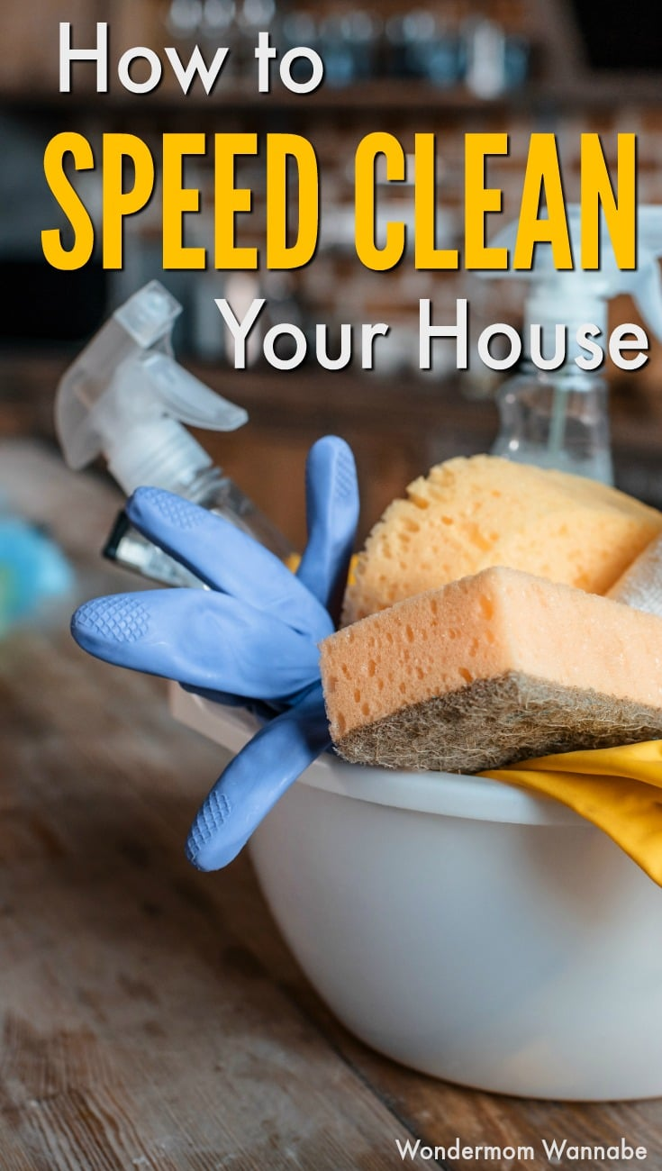 When your friend calls to say she's stopping by soon but your home is a mess, here's how to speed clean your house to be ready in minutes! #cleaningtips #speedclean #householdtips via @wondermomwannab