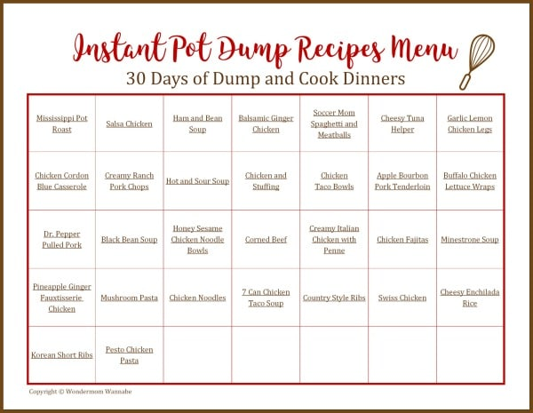 printable calendar with meals on it with title text reading Instant Pot Dump Recipes Menu 30 Days of Dump and Cook Dinners