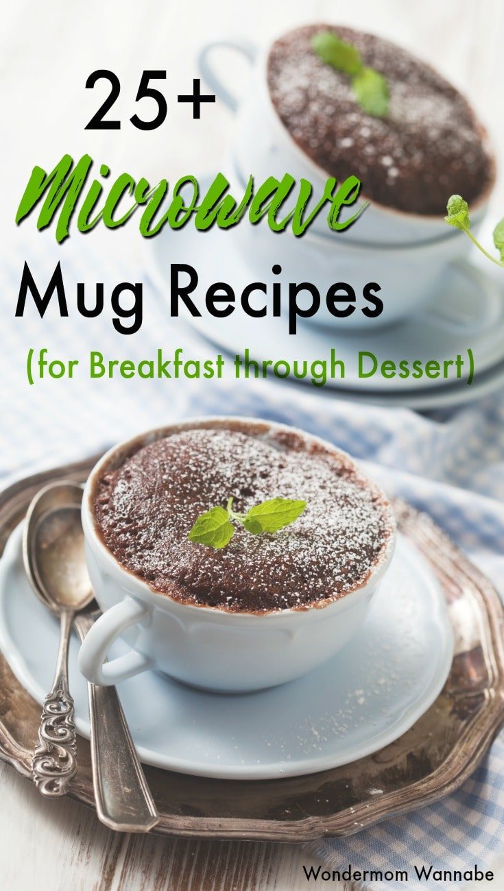 This is a great collection of microwave recipes in a mug! Perfect for single serving portions and ideal for college students. #mugrecipes #easyrecipes