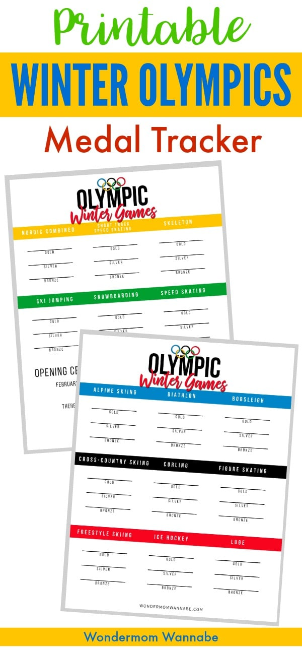 printable medal trackers with title text reading Printable Winter Olympics Medal Tracker