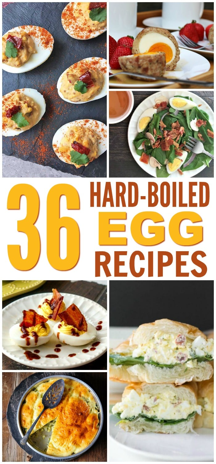a collage of six different dishes made with hard boiled eggs with title text reading 36 Hard Boiled Egg Recipes