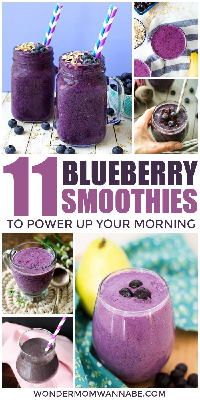 Blueberry smoothies are such an easy way to get a lot of nutrients quickly and easily, plus they're delicious! Here are 11 different ways to enjoy them. #smoothies #blueberries #healthy via @wondermomwannab
