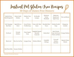 30 Day Menu of Gluten-Free Instant Pot Recipes