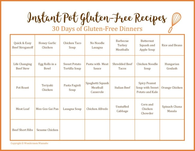 a printable calendar with dinner ideas on each day with title text reading Instant Pot Gluten-Free Recipes 30 Days of Gluten-Free Dinners