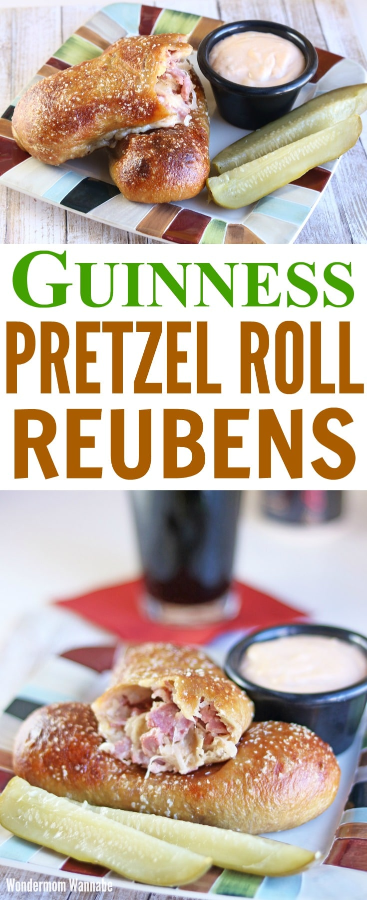 a collage of pretzel roll reuben sandwiches on a plate with pickles and sauce next to them with title text reading Guinness Pretzel Roll Reubens
