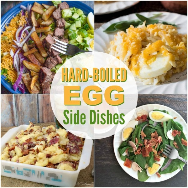 a collage of four different dishes with title text reading Hard-Boiled Egg Side Dishes