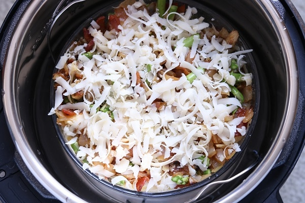 overhead view of bacon and asparagus strata in an instant pot