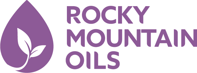 a graphic of a purple drop with a leaf on it and title text reading Rocky Mountain Oils
