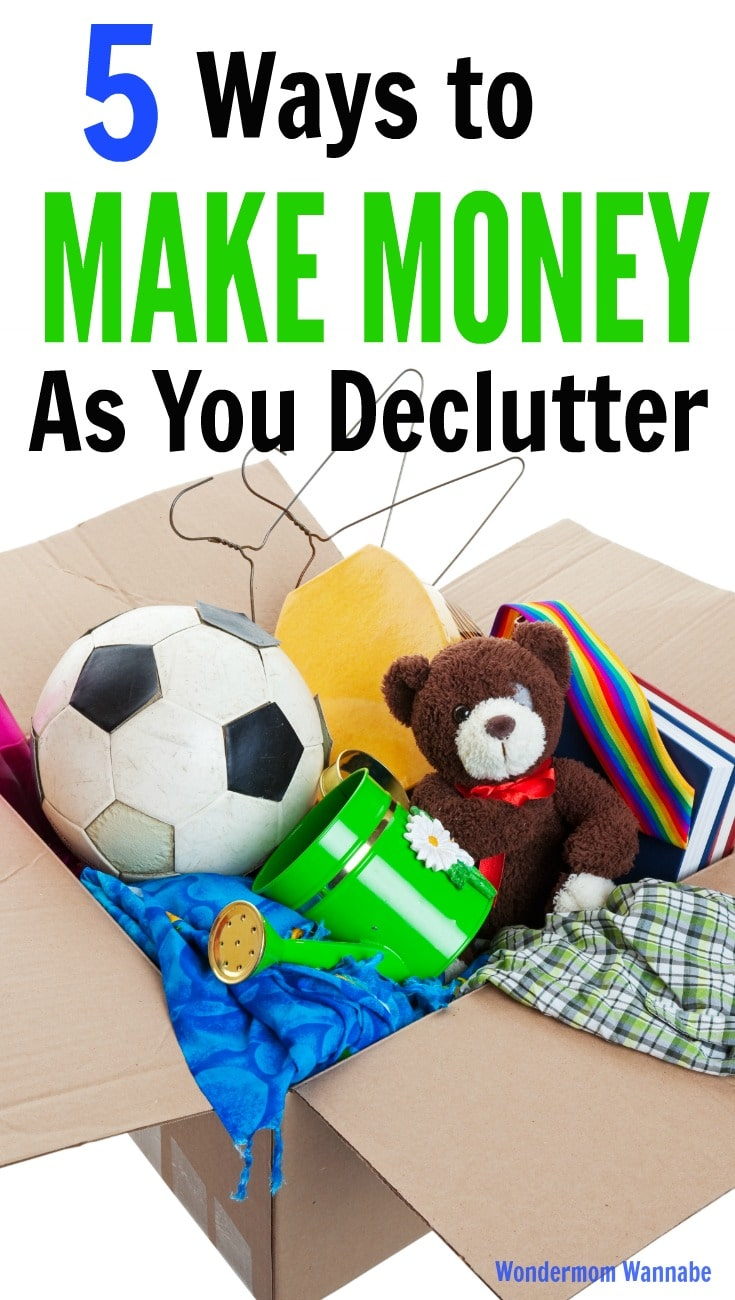a cardboard box full of various things from the home on a white background with title text reading, 5 Ways to Make Money as You Declutter