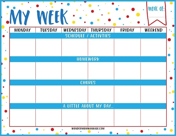 Kids Weekly Calendar Template : Weekly planner printable for kids