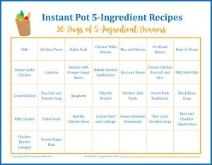 One Month Menu of 5-Ingredient Instant Pot Recipes