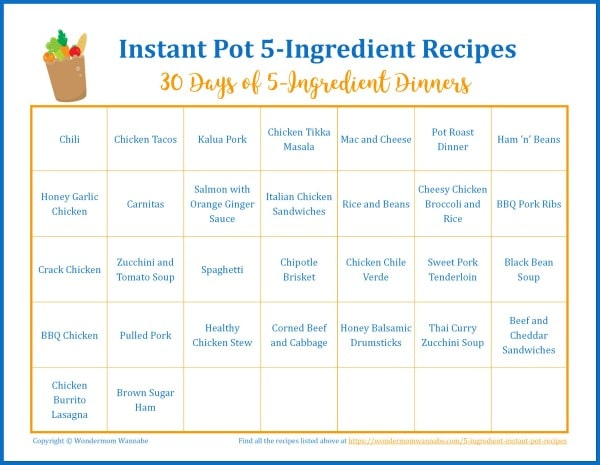 a printable calendar with title text reading Instant Pot 5-Ingredient Recipes 30 Days of 5-Ingredient Dinners