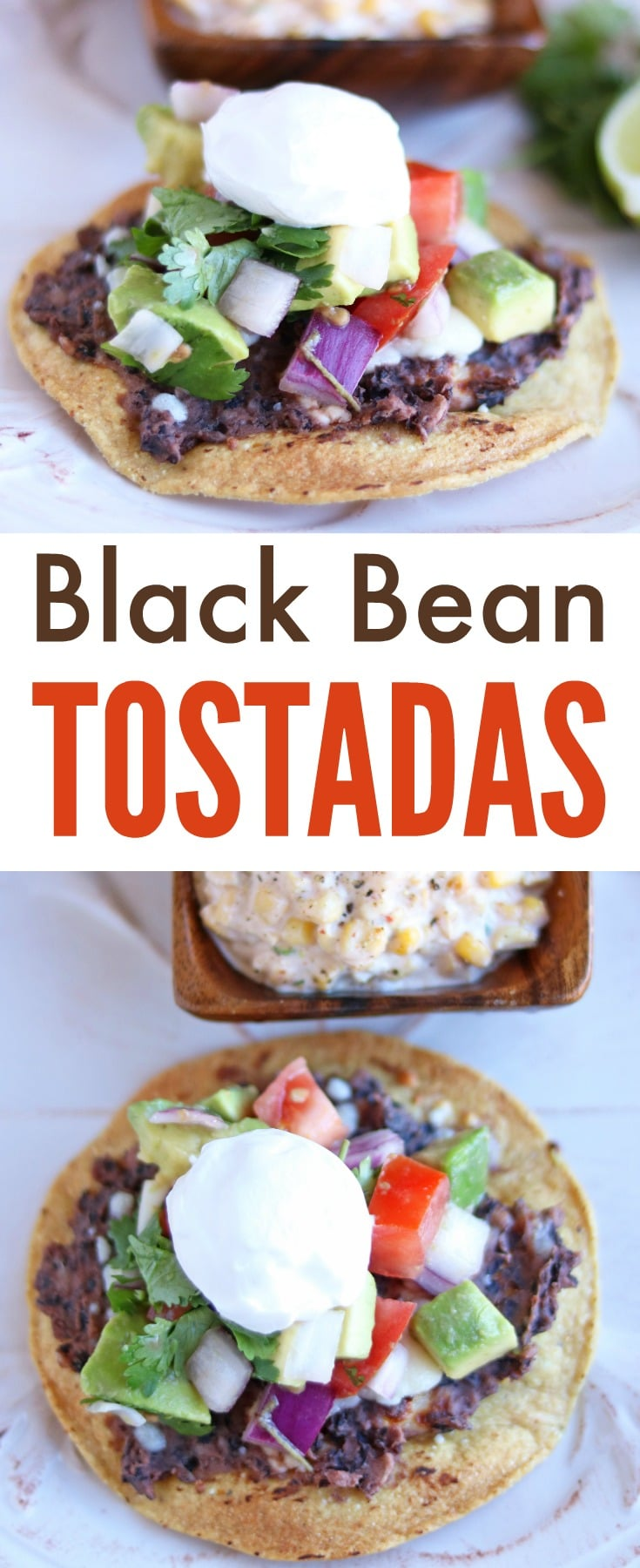 These black bean tostadas are one of our favorite dinners for Meatless Mondays! The black beans are so filling you don't miss the meat and it has all of our favorite Mexican flavors. #meatlessmondays #mexicanfood #blackbean #tostadas via @wondermomwannab
