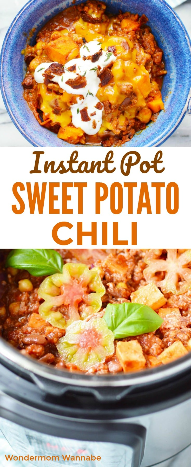 collage of sweet potato chili in a blue bowl or in an instant pot with title text reading Instant Pot Sweet Potato Chili