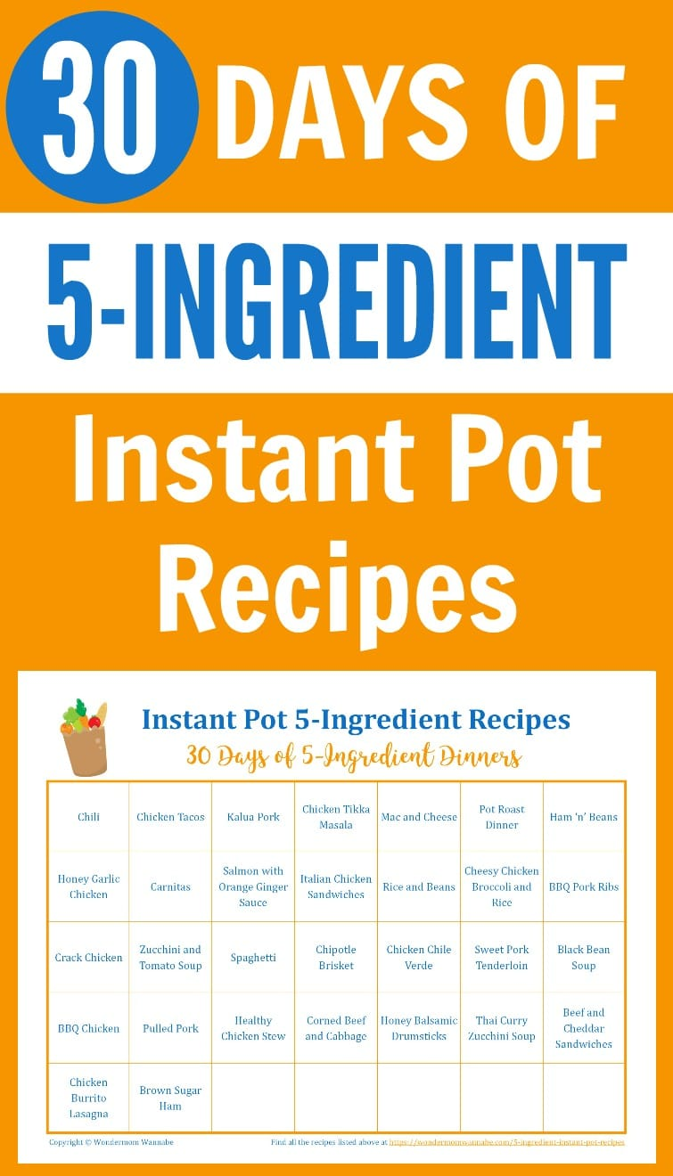 30 Day Menu of 5-Ingredient Instant Pot Recipes
