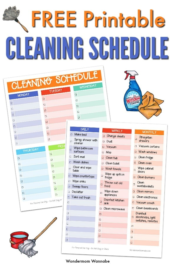 graphic regarding Free Printable Cleaning Schedule identify Printable Cleansing Plan