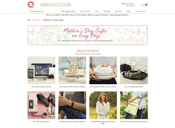 a screenshot of mother's day gifts available on the QVC website
