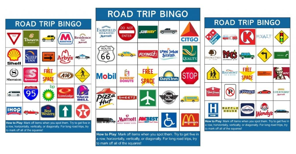 picture about Travel Bingo Printable named Printable Highway Vacation Bingo Playing cards