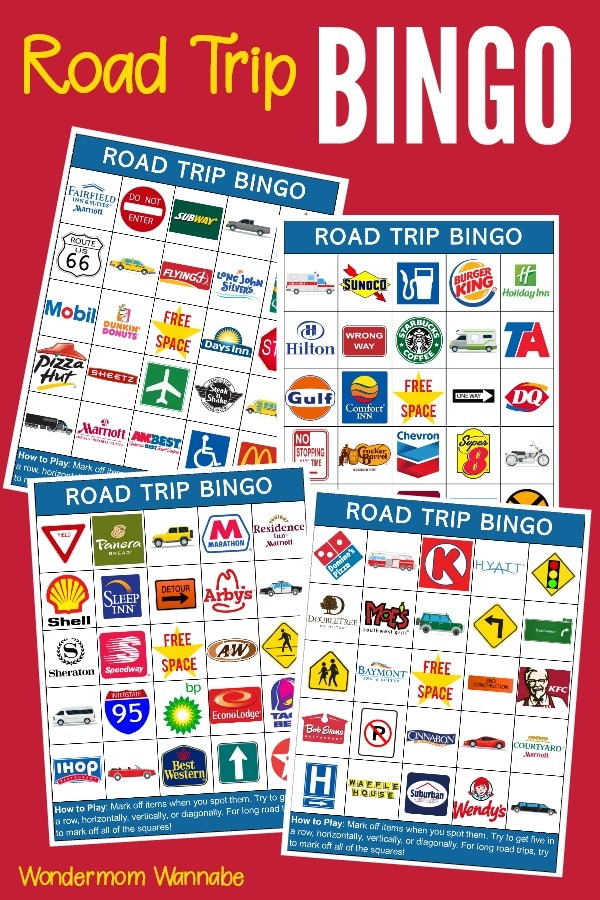 picture relating to Travel Bingo Printable known as Printable Highway Family vacation Bingo Playing cards