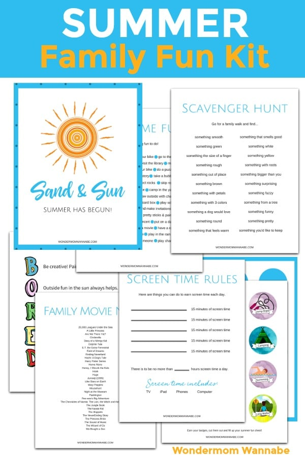 printable What to do in summer: Family Fun Kit with title text reading Summer Family Fun Kit