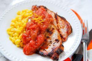 Grilled Pork Chops with Rhubarb Orange Sauce