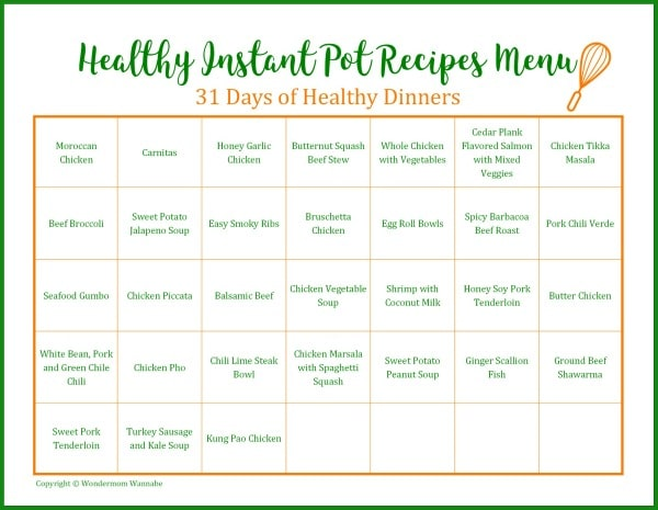 a printable calendar with the title Healthy Instant Pot Recipes Menu 31 Days of Healthy Dinners