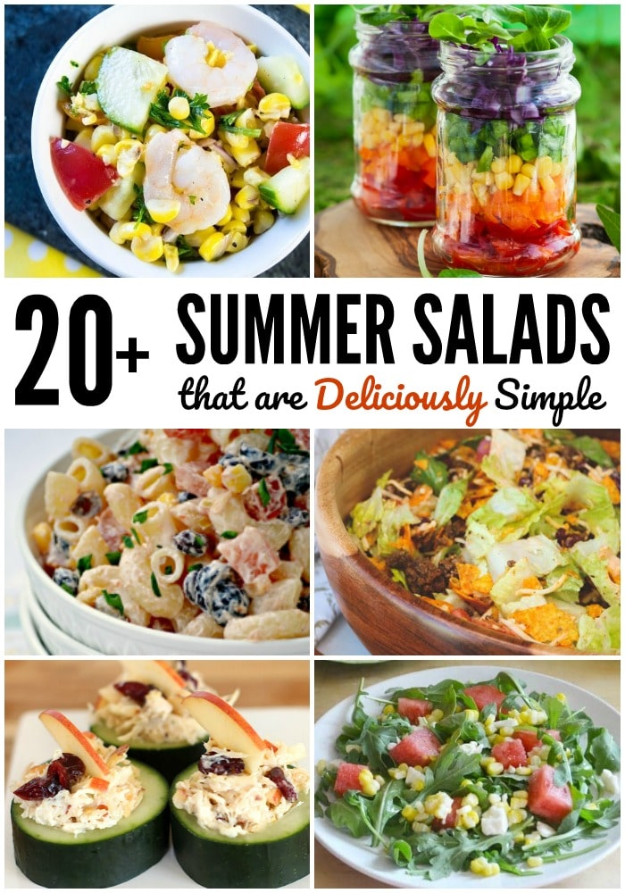 a collage of six different salads with title text reading 20+ Summer Salads that are Deliciously Simple