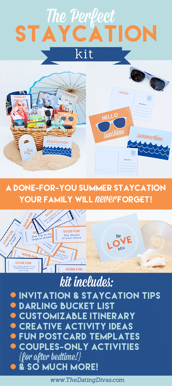 a collage of printables with title text reading The Perfect Staycation Kit