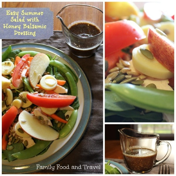 a collage of ingredients for a salad and the salad on a plate with title text reading Easy Summer Salad with Honey Balsamic Dressing