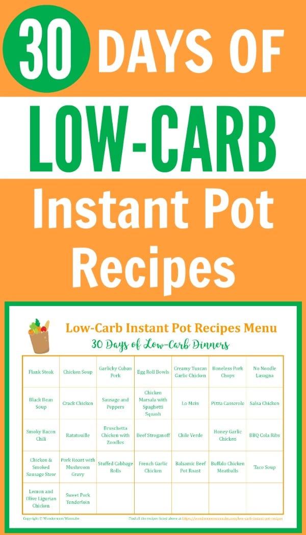 30-Day Menu of Low-Carb Instant Pot Recipes