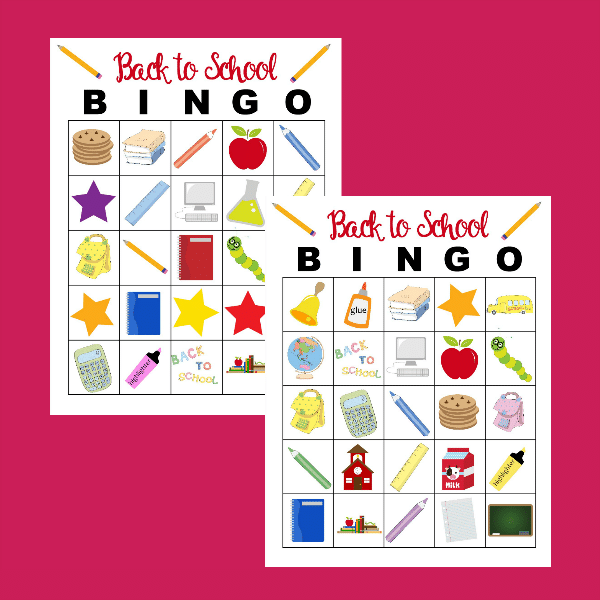 back to school bingo game printable