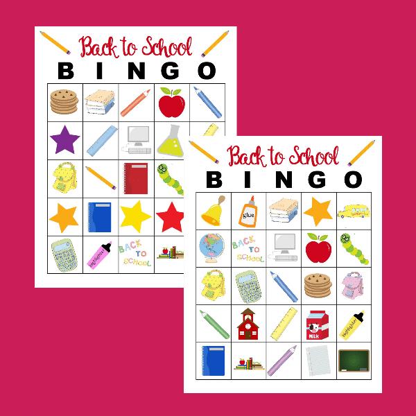 back to school bingo game printable
