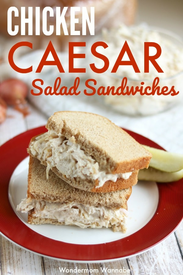 These caesar chicken salad sandwiches are so delicious and super easy to make. They're my favorite meal when I have to pack a lunch! #chickensalad #sandwichrecipe #easylunch via @wondermomwannab