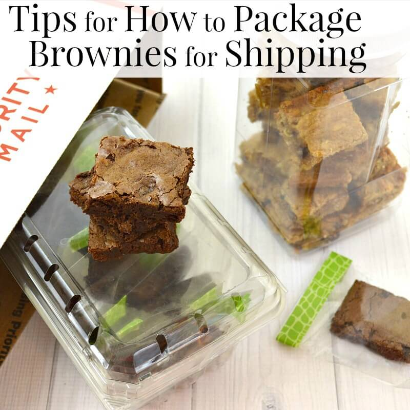 plastic bags and tubs full of brownies next to a priority mail cardboard box on a white wood table with title text reading Tips for How to Package Brownies for Shipping