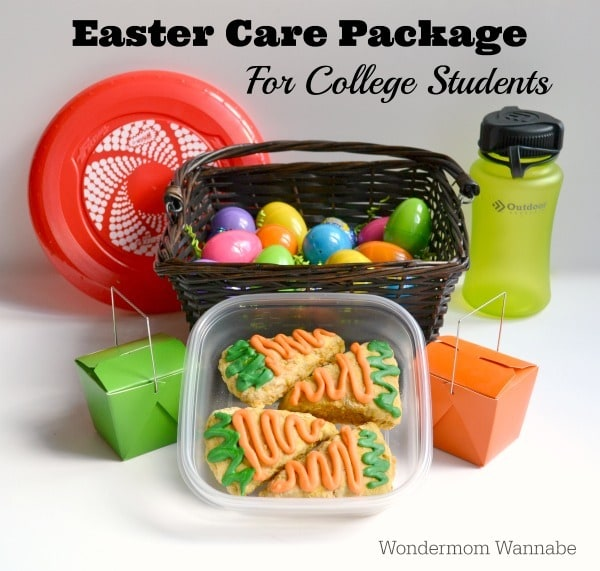 red frisbee, brown wicker basket full of colored plastic eggs, a green water bottle, two green and orange take out boxes, a plastic container with treats decorated to look like carrots, all on a white background with title text reading Easter Care Package for College Students