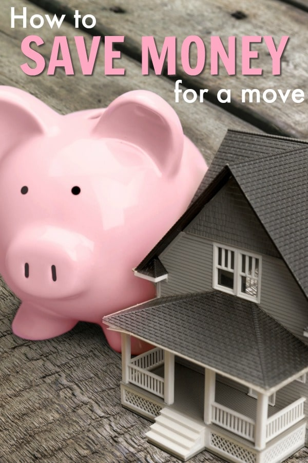 a pink piggy bank next to a toy house on a wood table with title text reading How to Save Money for a Move