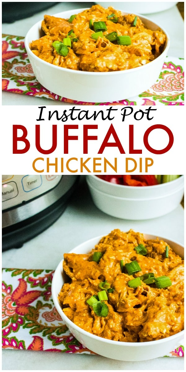 Instant Pot Buffalo Chicken Dip is one of my go-to crowd-pleasing appetizers. All you need are an Instant Pot, four ingredients, and a few minutes to pull together this dip everyone loves. #instantpot #pressurecooker #appetizers #buffalodip via @wondermomwannab