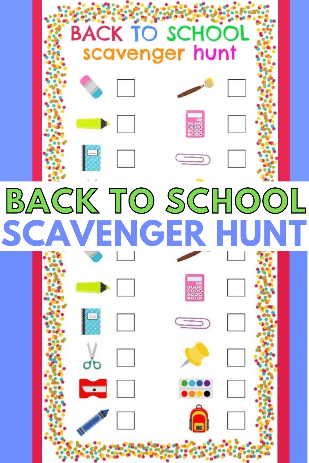 A back to school scavenger hunt is a fun way to get kids excited about a new school year. This free printable scavenger hunt is a colorful and easy game. #scavengerhunt #printable #forkids #backtoschool via @wondermomwannab