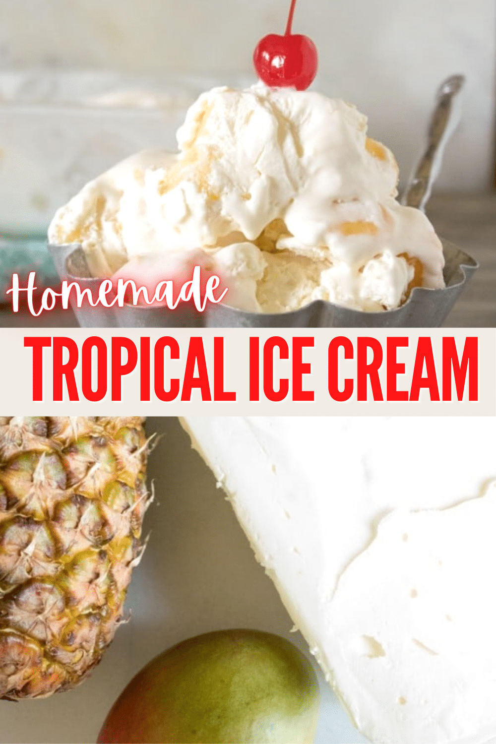 This 5-ingredient homemade tropical ice cream is super easy to make. It's a dessert that makes you feel like you're on vacation! #easydessert #icecream via @wondermomwannab