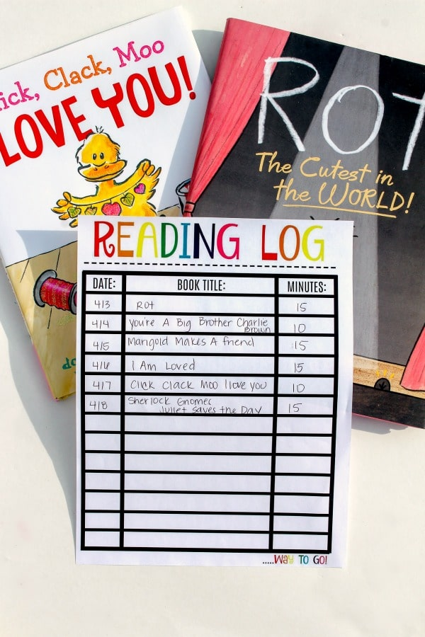 Printable Reading Log Minutes Read