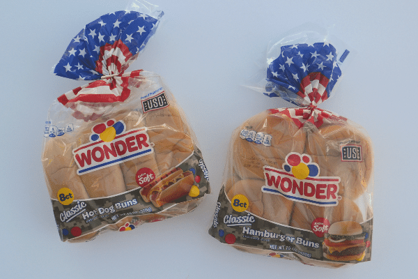 Wonder hot dog and hamburger buns in a red, white and blue package