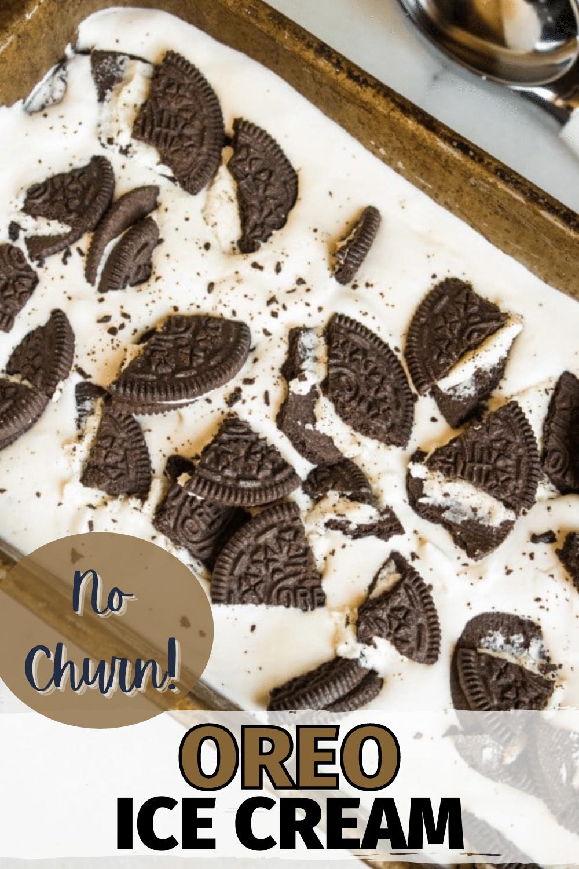 This No-Churn Oreo Ice Creamis so creamy and full of chocolate crunchy cookies, you won't believe how easy it is to make! #icecream #nochurnicecream #homemadeicecream #oreo via @wondermomwannab