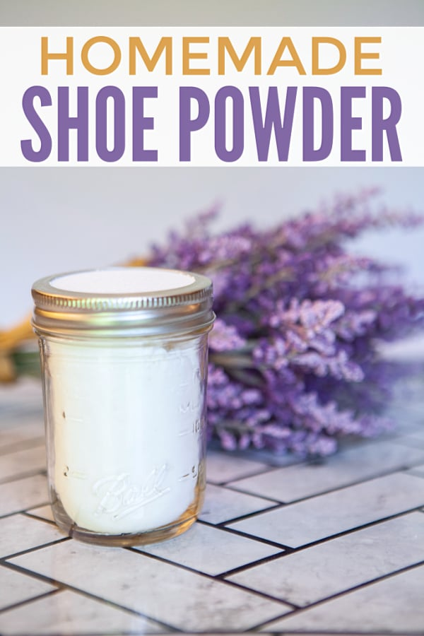 a mason jar full of shoe powder next to a bunch of lavender on a tile floor with title text reading Homemade Shoe Powder