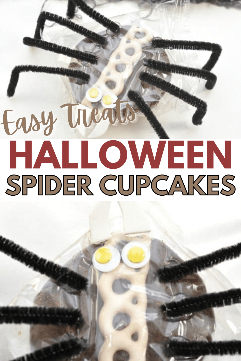 These Cupcake Spiders are super easy to make since you start with a Hostess cupcake! Such a simple way to add some fun to make a Halloween lunchbox treat! #Halloween #funfood #easycraft via @wondermomwannab