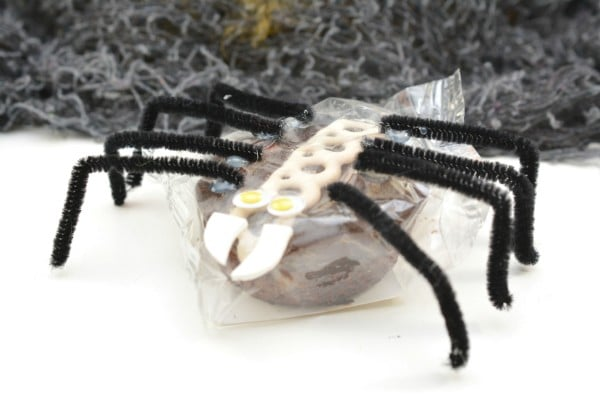 a packaged cupcake decorated with google eyes, white foam as teeth, and black pipe cleaners as legs, to look like a spider on a white background with a black netting in the background