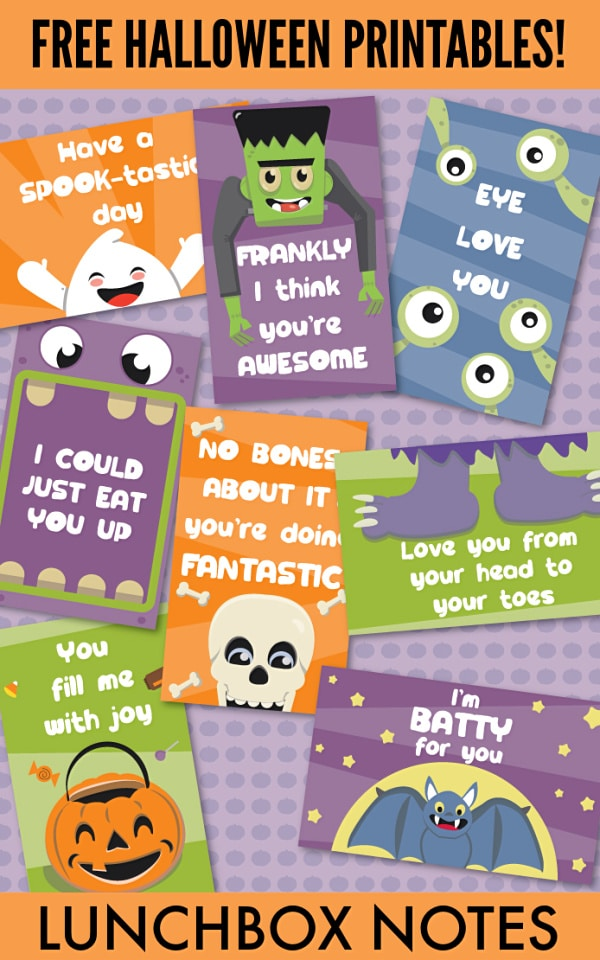 These Halloween lunchbox notes are so cute and totally free! What a fun way to treat the kids without candy the week leading up to Halloween. #halloween #printables #lunchnotes via @wondermomwannab