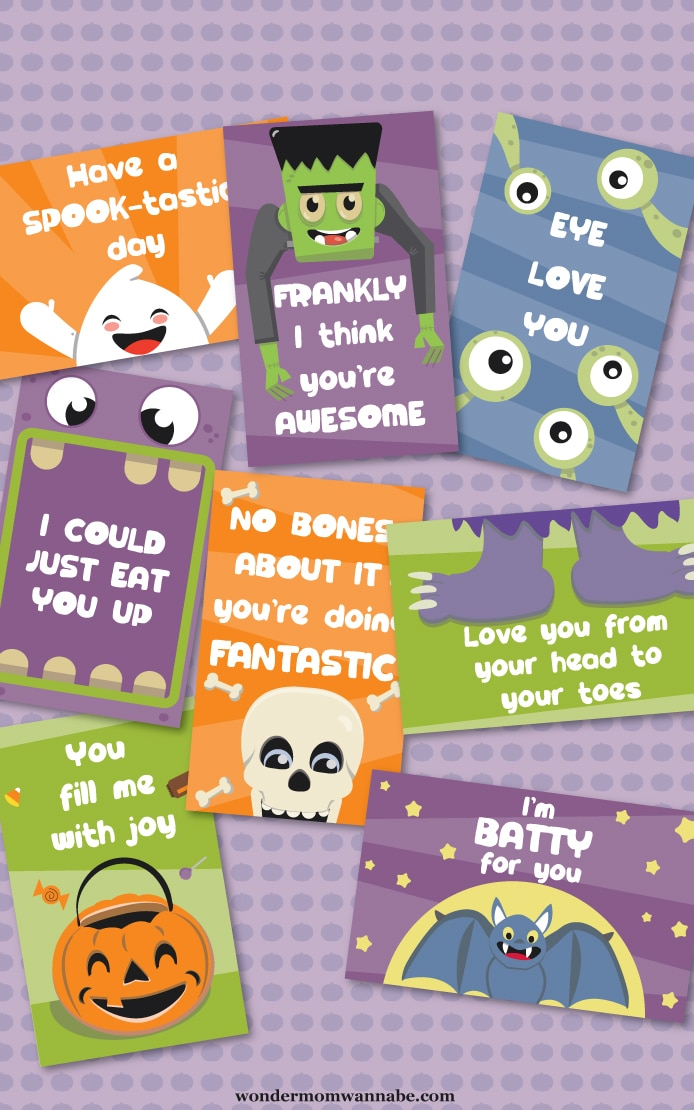 printable Halloween lunchbox notes on a purple polka dot background