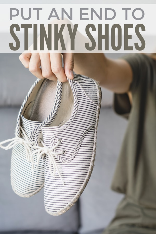 a person holding a pair of striped canvas shoes far away from them with title text reading Put An End To Stinky Shoes