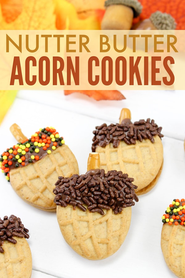 These Nutter Butter Acorn Cookies are perfect for celebrating Fall! Not only are they adorable, they're also so easy to make. #funfood #fallfood #nutterbutter via @wondermomwannab