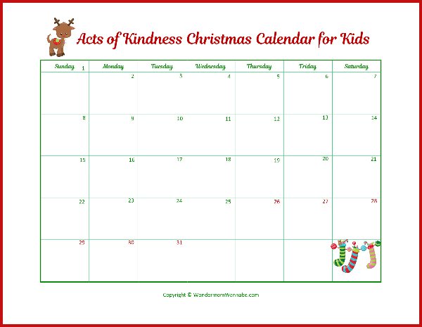 a printable red, white, and green acts of kindness christmas calendar for kids